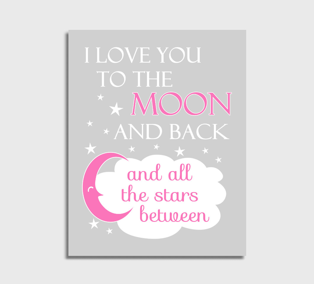 Pink I Love You To The Moon Girl Nursery Wall Art Print Canvas Girl Bedroom Decor Picture