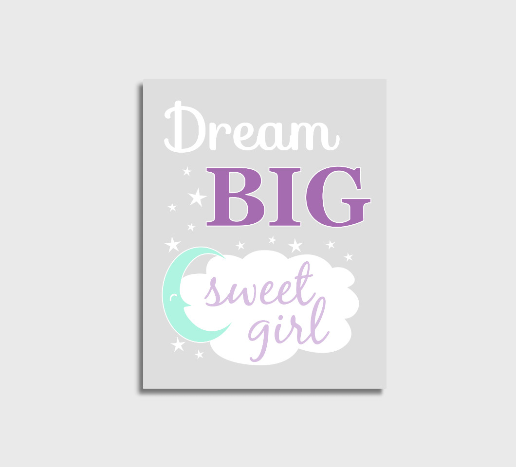 Purple Mint Dream Big Girl Nursery Wall Art Print Canvas Girl Bedroom Decor Picture