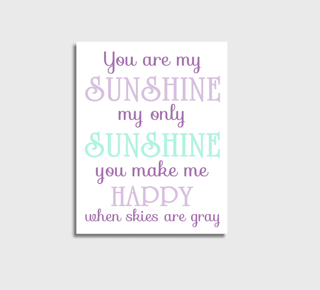 Purple Mint You Are My Sunshine Girl Nursery Wall Art Print Canvas Girl Bedroom Decor Picture