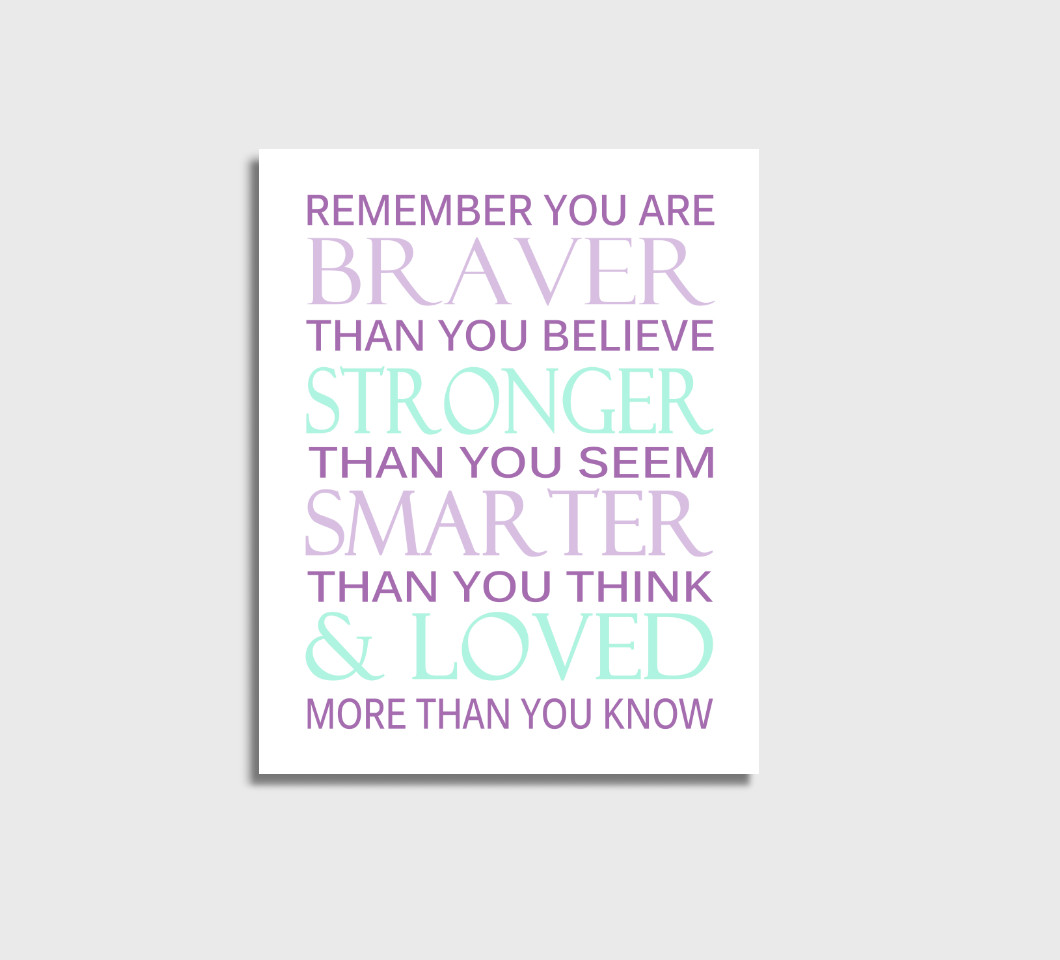 Purple Mint Remember You Are Braver Girl Nursery Wall Art Print Canvas Girl Bedroom Decor Picture