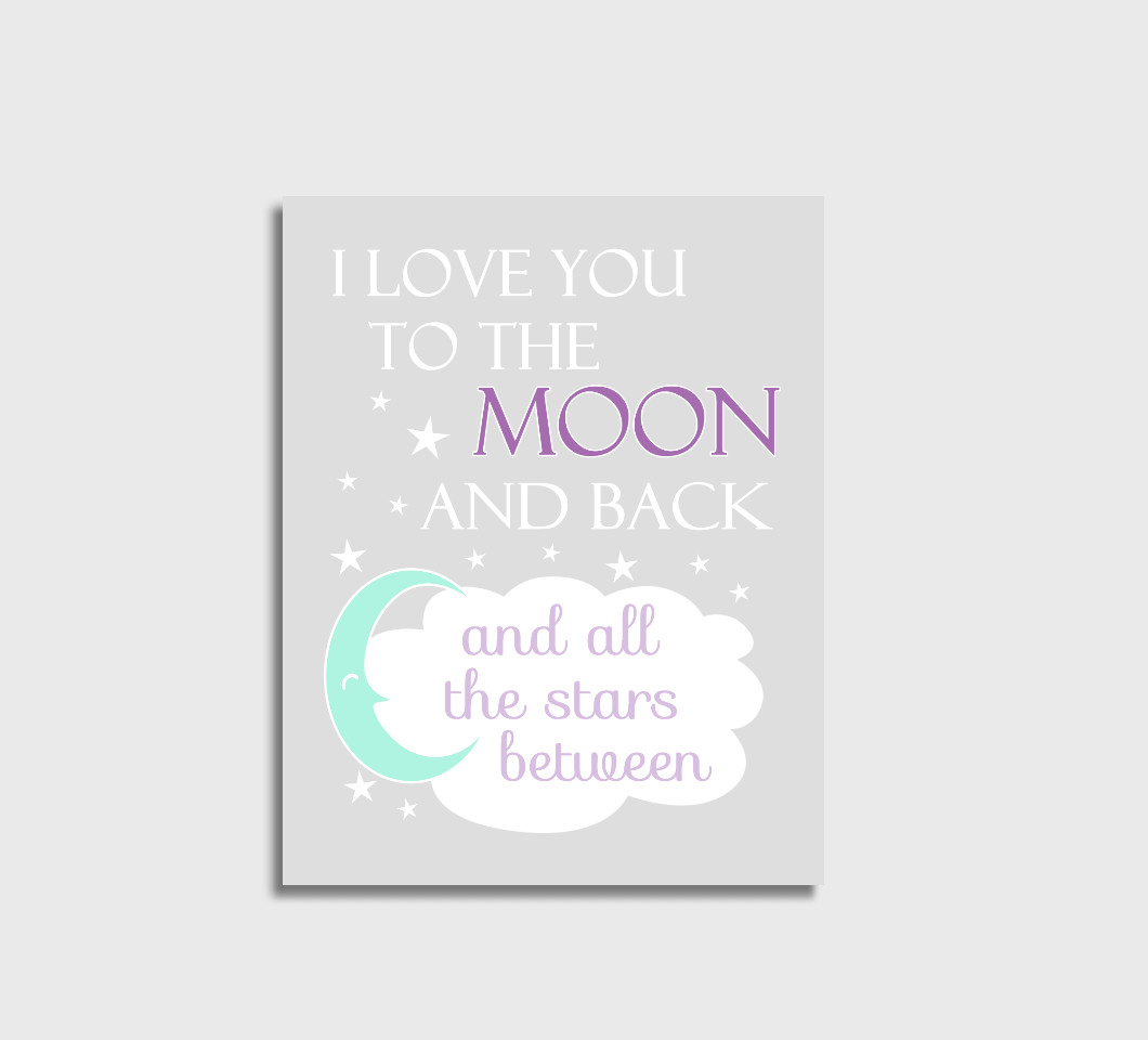 Purple Mint I Love You To The Moon Girl Nursery Wall Art Print Canvas Girl Bedroom Decor Picture