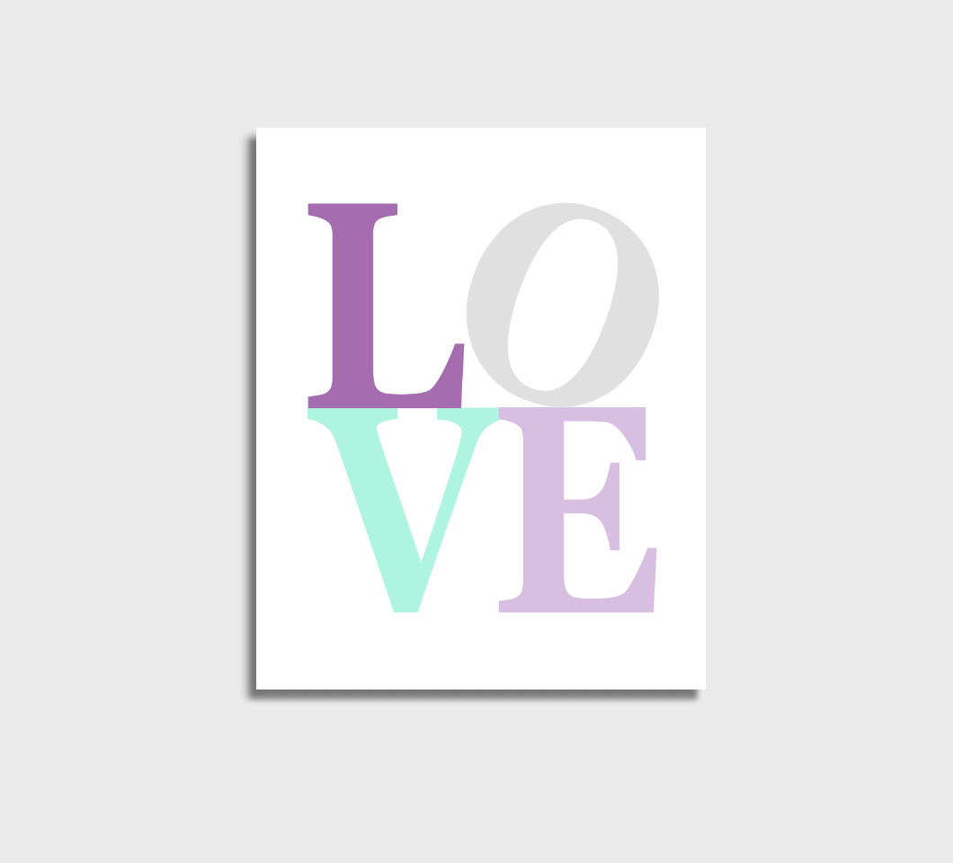 Purple Mint LOVE Girl Nursery Wall Art Print Canvas Girl Bedroom Decor Picture
