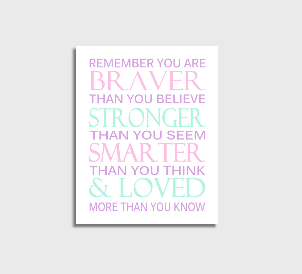 Pink Purple Mint Remember You Are Braver Girl Nursery Wall Art Print Canvas Girl Bedroom Decor Picture