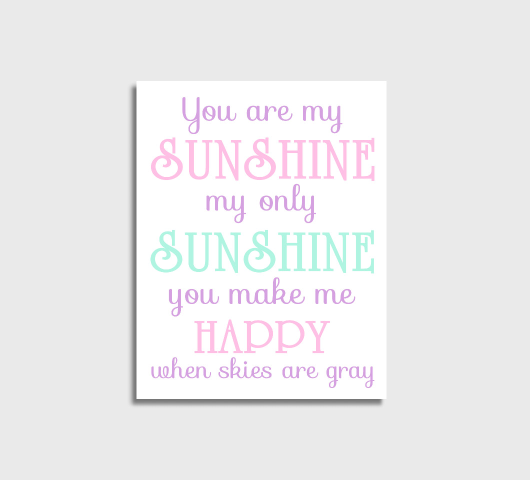 Pink Purple Mint You Are My Sunshine Girl Nursery Wall Art Print Canvas Girl Bedroom Decor Picture