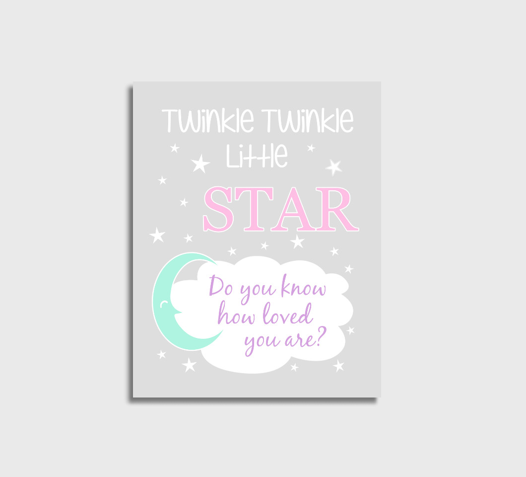 Pink Purple Mint Twinkle Little Star Girl Nursery Wall Art Print Canvas Girl Bedroom Decor Picture