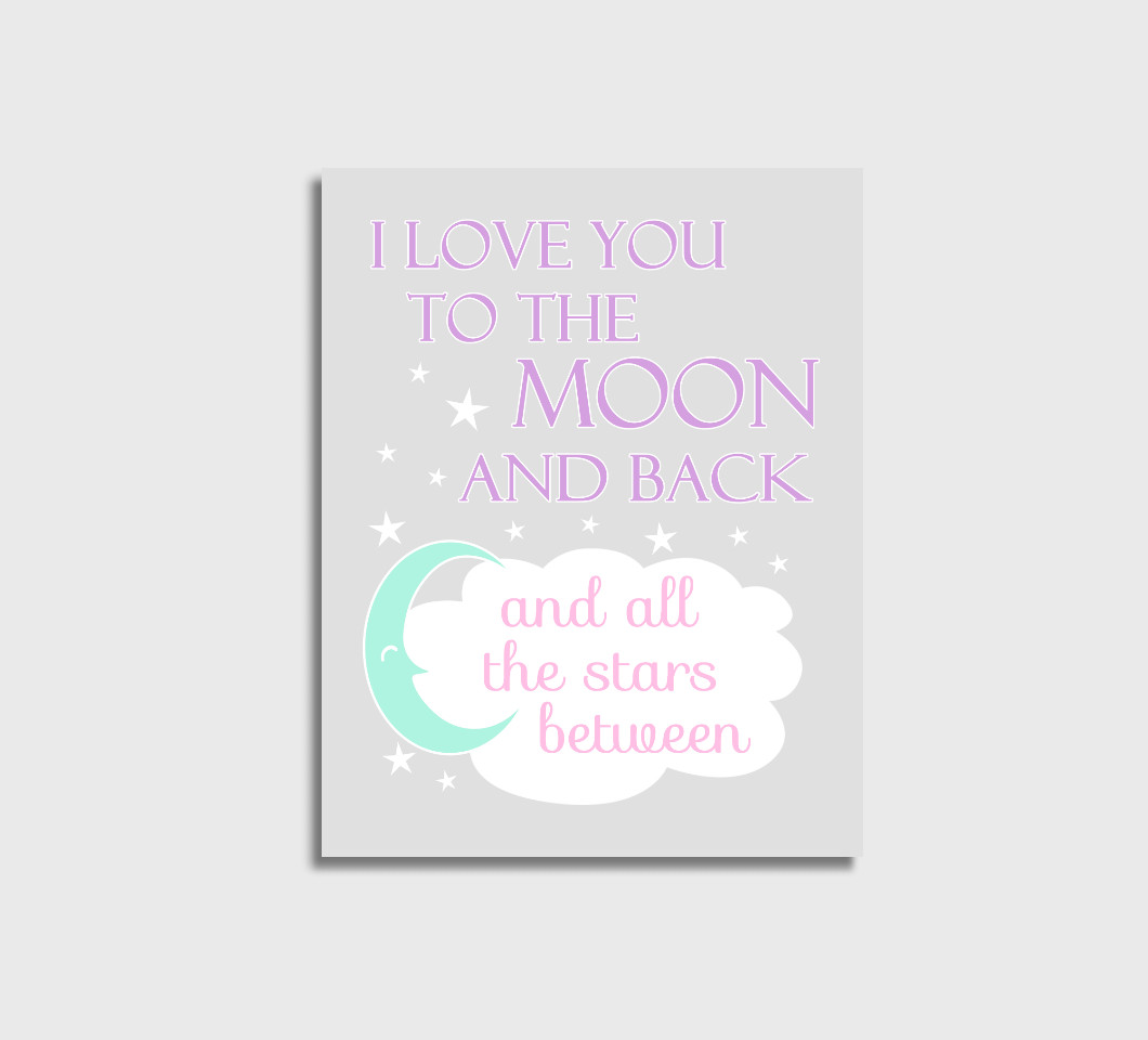 Pink Purple Mint I Love You To The Moon Girl Nursery Wall Art Print Canvas Girl Bedroom Decor Picture