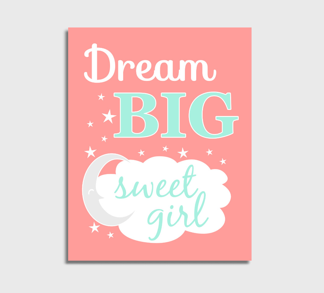 Coral Mint Dream Big Girl Nursery Wall Art Print Canvas Girl Bedroom Decor Picture