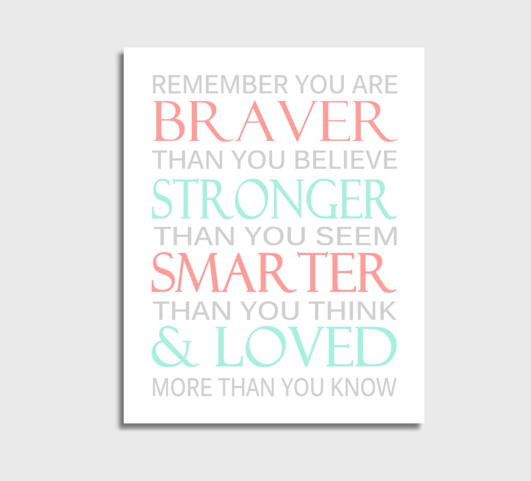 Coral Mint Always Remember You Are Braver Girl Nursery Wall Art Print Canvas Girl Bedroom Decor Picture