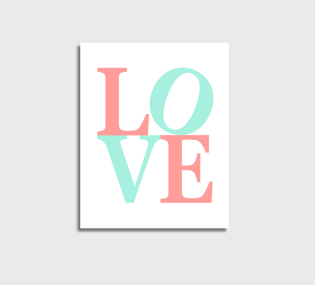 Coral Mint LOVE Girl Nursery Wall Art Print Canvas Girl Bedroom Decor Picture
