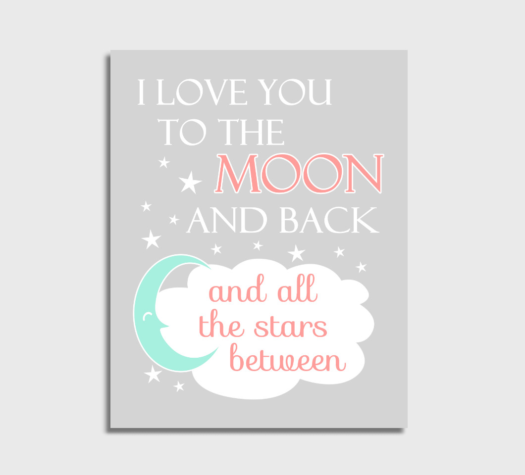 Coral Mint I Love You To The Moon Girl Nursery Wall Art Print Canvas Girl Bedroom Decor Picture