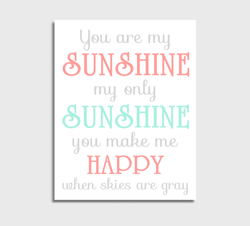 Coral Mint You Are My Sunshine Girl Nursery Wall Art Print Canvas Girl Bedroom Decor Picture