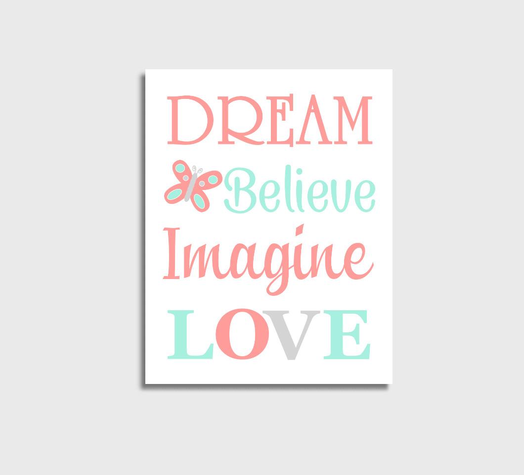 Coral Mint Baby Girl Nursery Wall Art Canvas Prints Bedroom Decor Butterfly Dream Believe