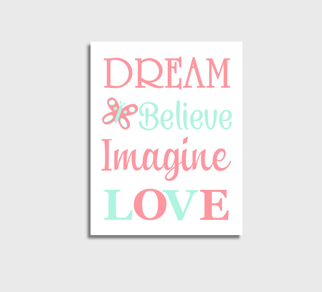 Coral Mint Baby Girl Nursery Wall Art Canvas Prints Bedroom Decor Butterfly Dream Believe