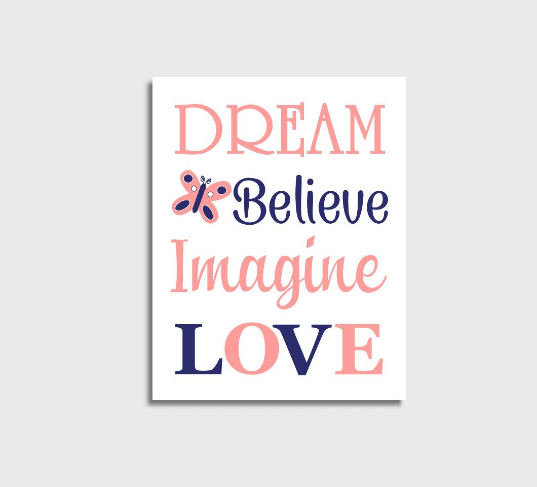 Coral Navy Baby Girl Nursery Wall Art Canvas Prints Bedroom Decor Butterfly Dream Believe