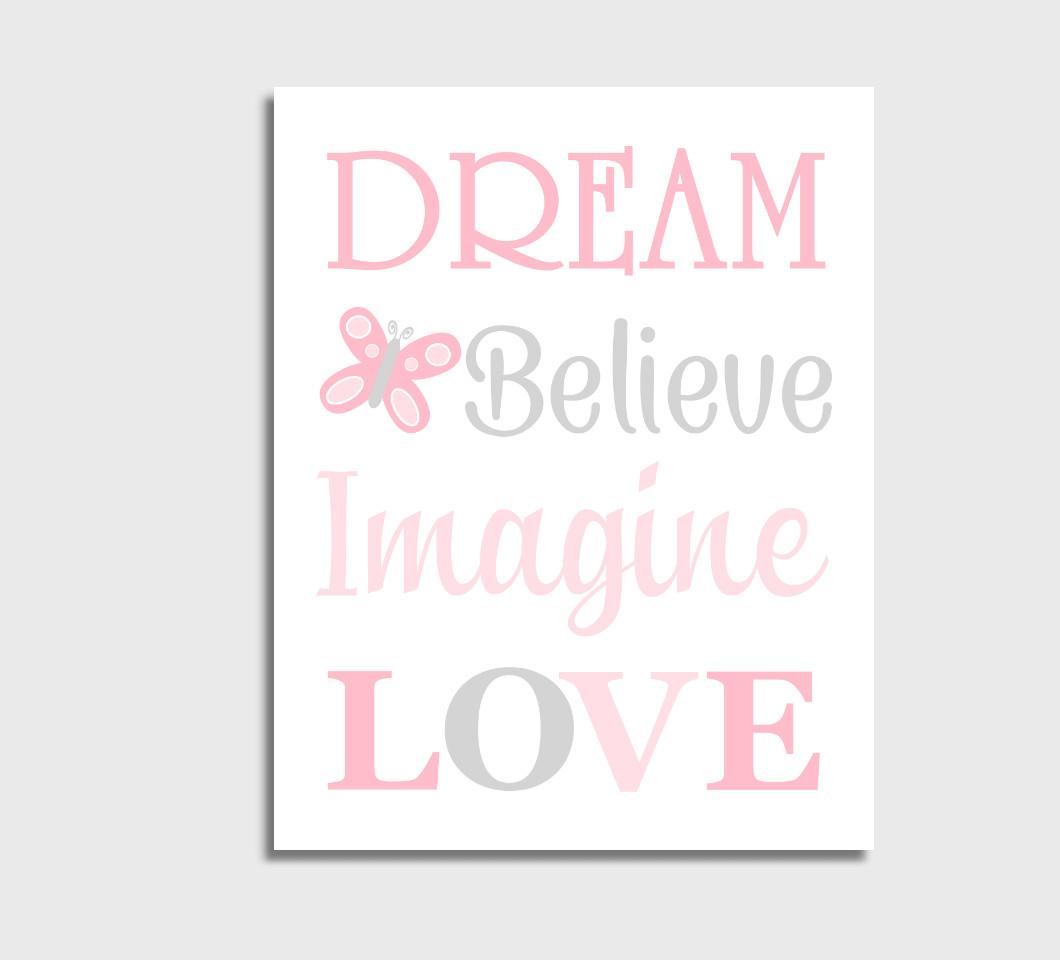 Pink Baby Girl Nursery Wall Art Canvas Prints Bedroom Decor Butterfly Dream Believe