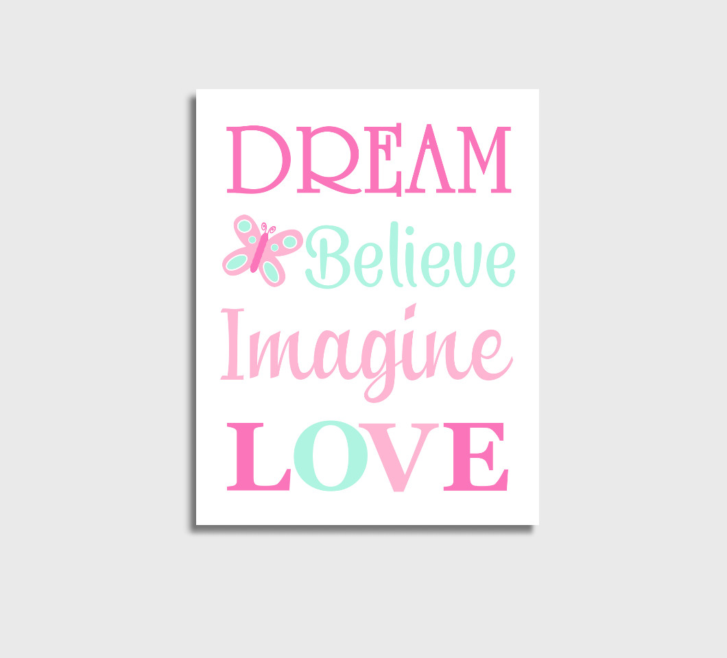 Pink Mint Baby Girl Nursery Wall Art Canvas Prints Bedroom Decor Butterfly Dream Believe