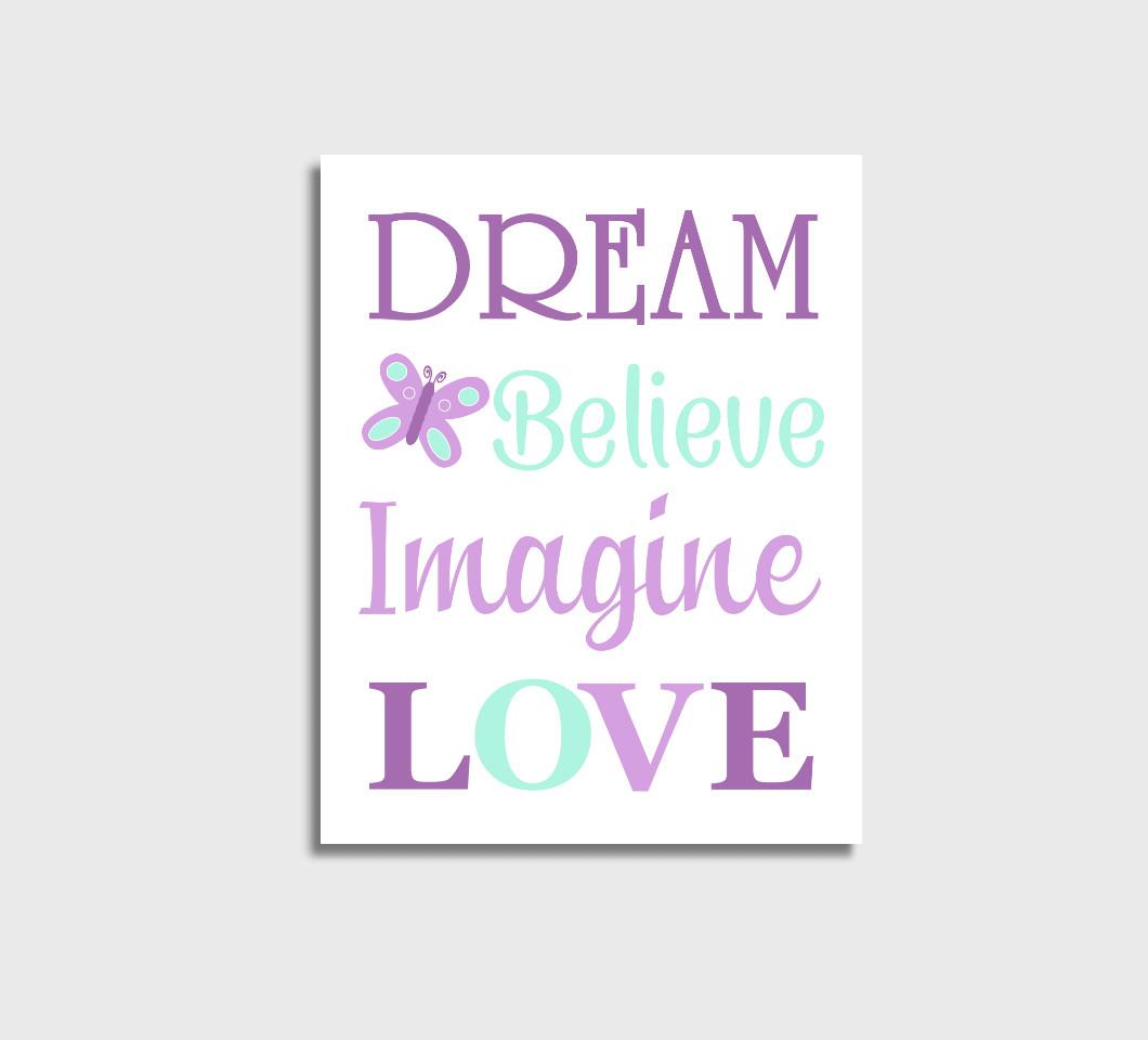 Purple Mint Baby Girl Nursery Wall Art Canvas Prints Bedroom Decor Butterfly Dream Believe
