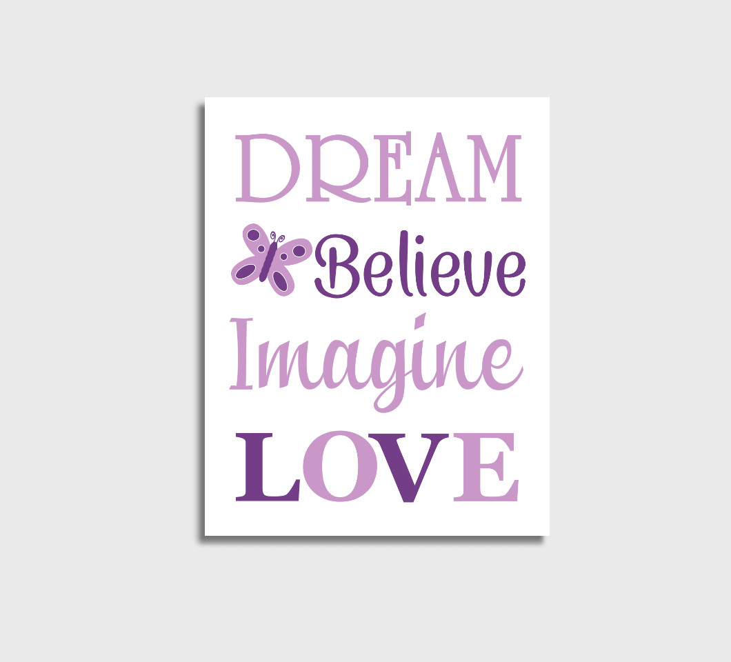 Purple Baby Girl Nursery Wall Art Canvas Prints Bedroom Decor Butterfly Dream Believe