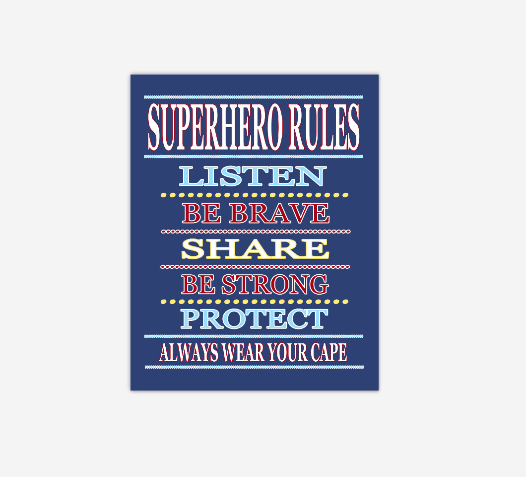 Blue Red Super Hero Wall Art Boy Bedroom Decor Canvas Prints Baby Boy Nursery