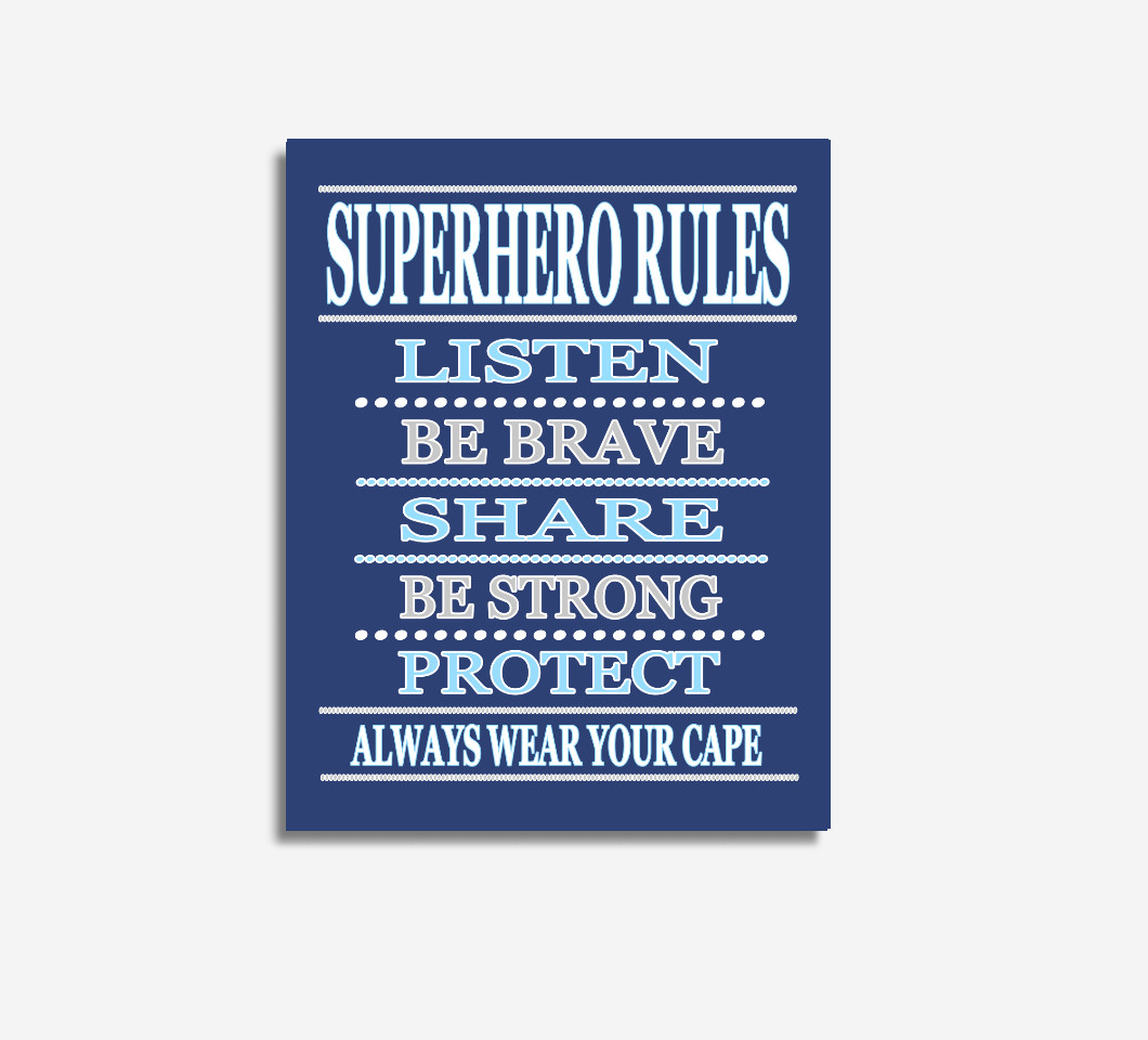 Blue Super Hero Wall Art Boy Bedroom Decor Canvas Prints Baby Boy Nursery