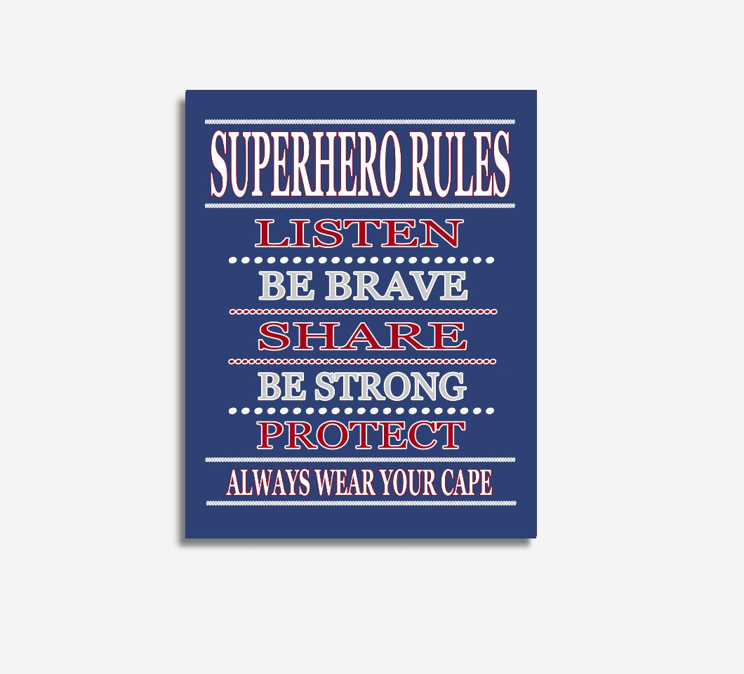 Blue Red Super Hero Wall Art Boy Bedroom Decor Canvas Prints Baby Boy Nursery