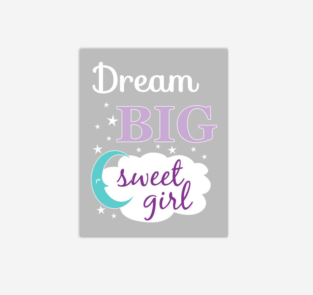 Purple Teal Dream Big Baby Girl Nursery Wall Art Print Canvas Decor Picture