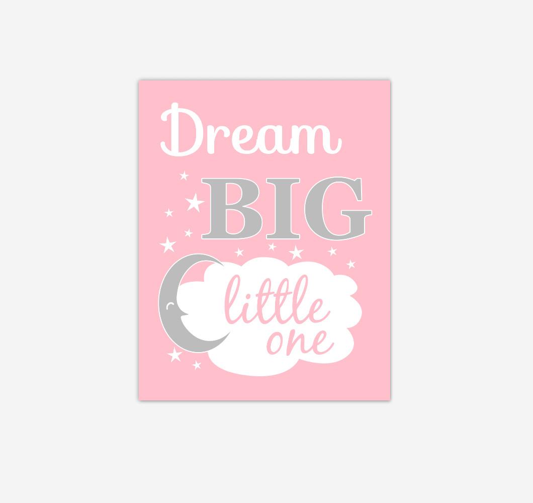 Pink Gray Grey Dream Big Baby Girl Nursery Wall Art Print Canvas Decor Picture