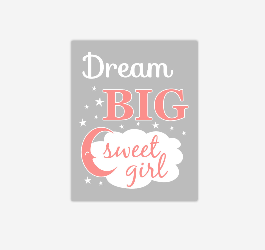 Coral Dream Big Baby Girl Nursery Wall Art Print Canvas Decor Picture