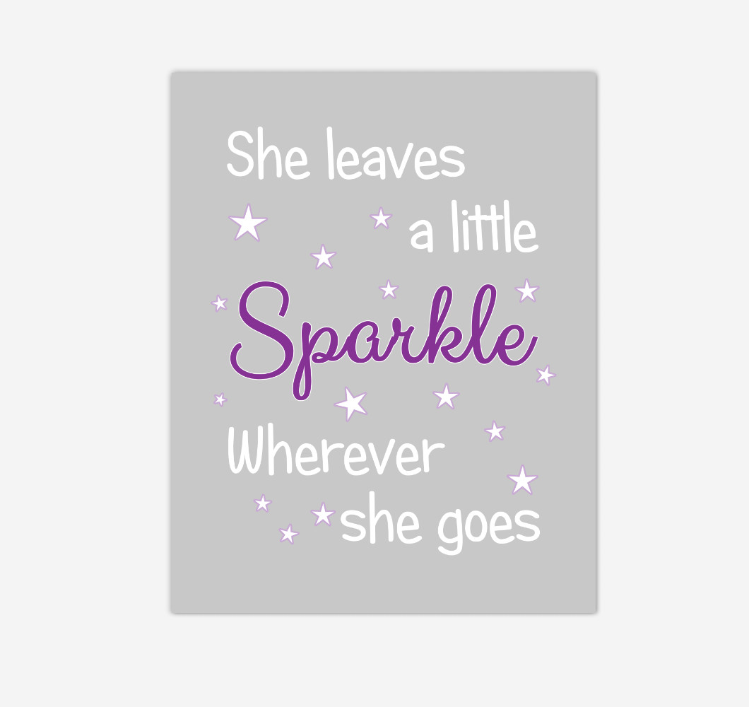 Purple She Leaves A Little Sparkle Baby Girl Nursery Wall Art Print Canvas Decor Picture