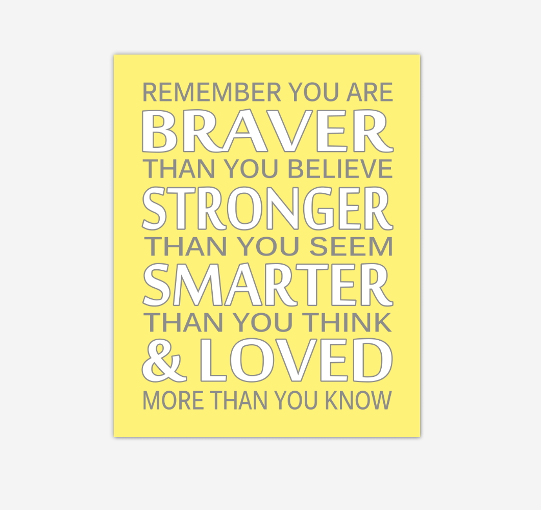 Yellow Gray Remember You Are Braver Baby Girl Nursery Wall Art Print Canvas Decor Inspirational Quotes 02236