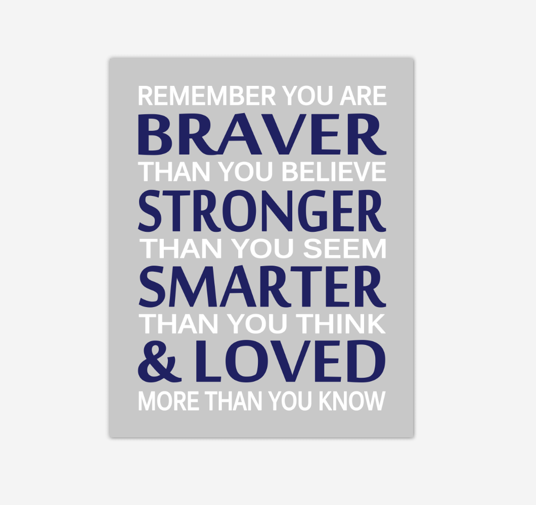Navy Blue Remember You Are Braver Baby Boy Nursery Wall Art Print Canvas Decor Inspirational Quotes 02238