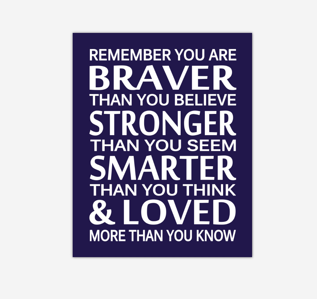 Navy Blue Remember You Are Braver Baby Boy Nursery Wall Art Print Canvas Decor Inspirational Quotes