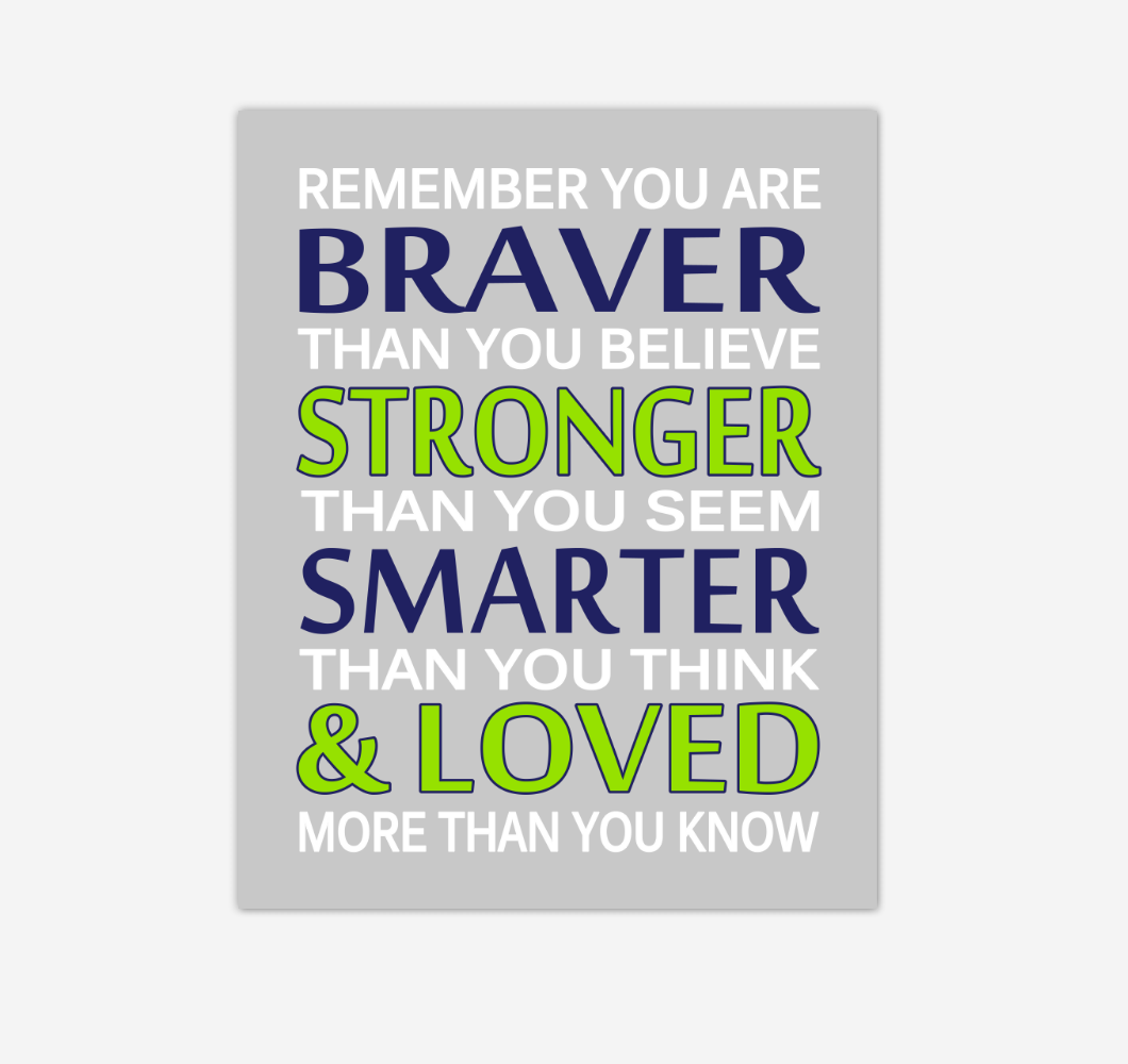 Navy Blue Lime Green Remember You Are Braver Baby Boy Nursery Wall Art Print Canvas Decor Inspirational Quotes 02240