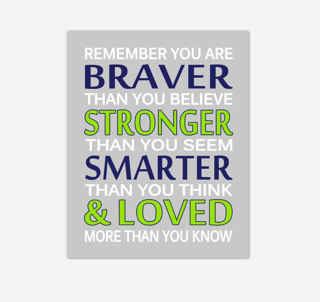 Navy Blue Lime Green Remember You Are Braver Baby Boy Nursery Wall Art Print Canvas Decor Inspirational Quotes