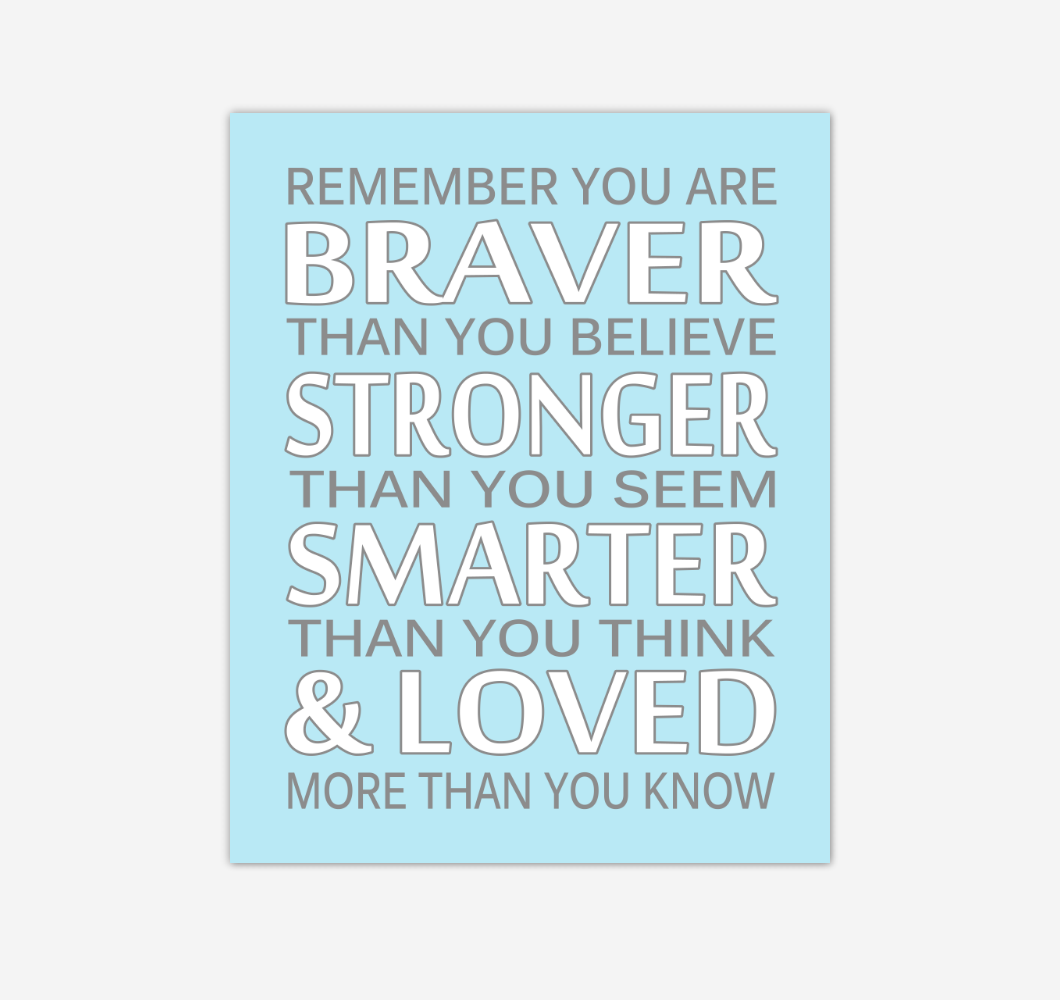 Blue Gray Remember You Are Braver Baby Boy Nursery Wall Art Print Canvas Decor Inspirational Quotes 02243