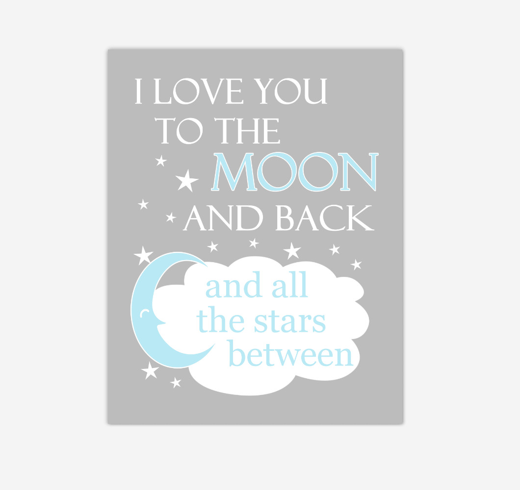 Blue Gray I Love You To The Moon And Back Baby Boy Nursery Wall Art Print Canvas Decor Inspirational Quotes