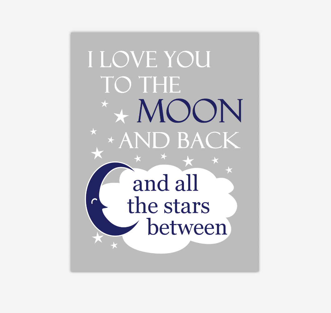 Navy Blue Gray I Love You To The Moon And Back Baby Boy Nursery Wall Art Print Canvas Decor Inspirational Quotes 02247