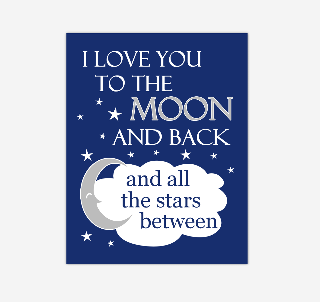Navy Blue I Love You To The Moon And Back Baby Boy Nursery Wall Art Print Canvas Decor Inspirational Quotes 02249