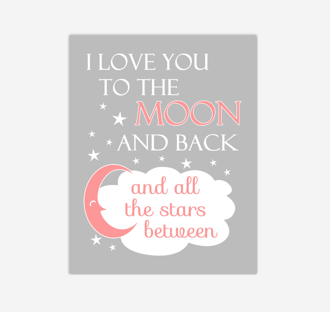 Coral I Love You To The Moon And Back Baby Girl Nursery Wall Art Print Canvas Decor Inspirational Quotes
