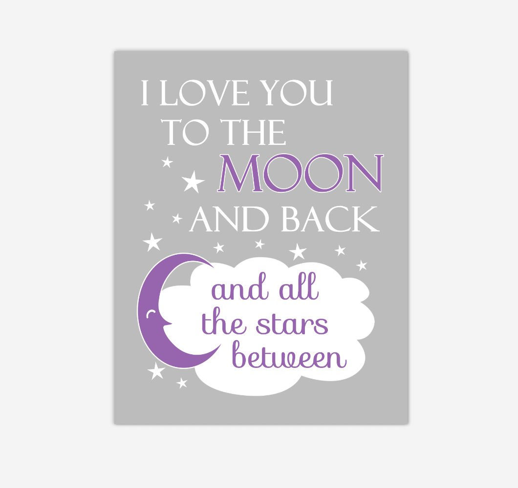 Purple I Love You To The Moon And Back Baby Girl Nursery Wall Art Print Canvas Decor Inspirational Quotes 02252