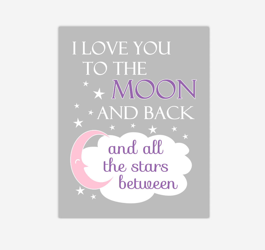 Purple Pink I Love You To The Moon And Back Baby Girl Nursery Wall Art Print Canvas Decor Inspirational Quotes