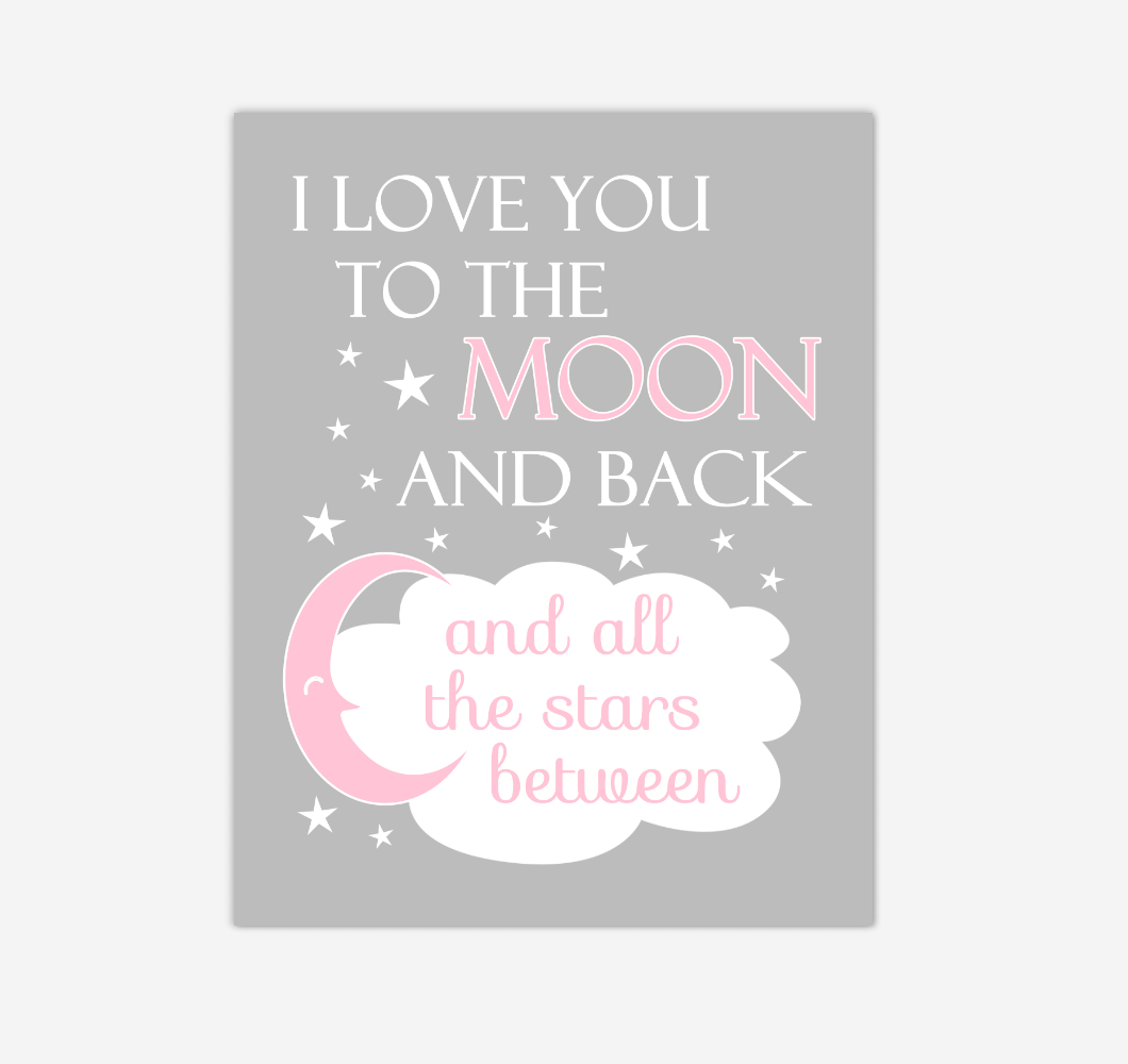 Pink I Love You To The Moon And Back Baby Girl Nursery Wall Art Print Canvas Decor Inspirational Quotes 02254