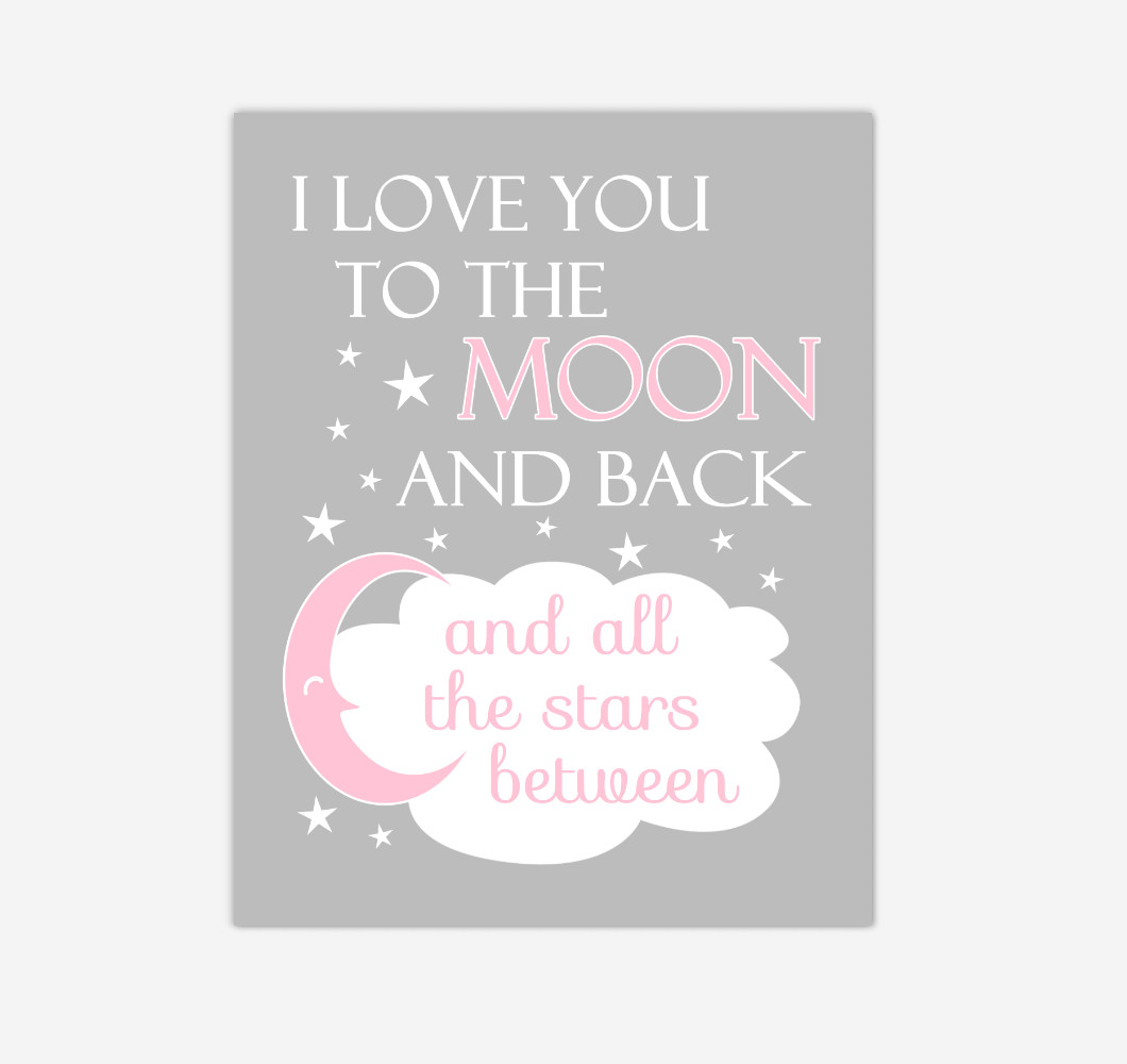 Pink I Love You To The Moon And Back Baby Girl Nursery Wall Art Print Canvas Decor Inspirational Quotes