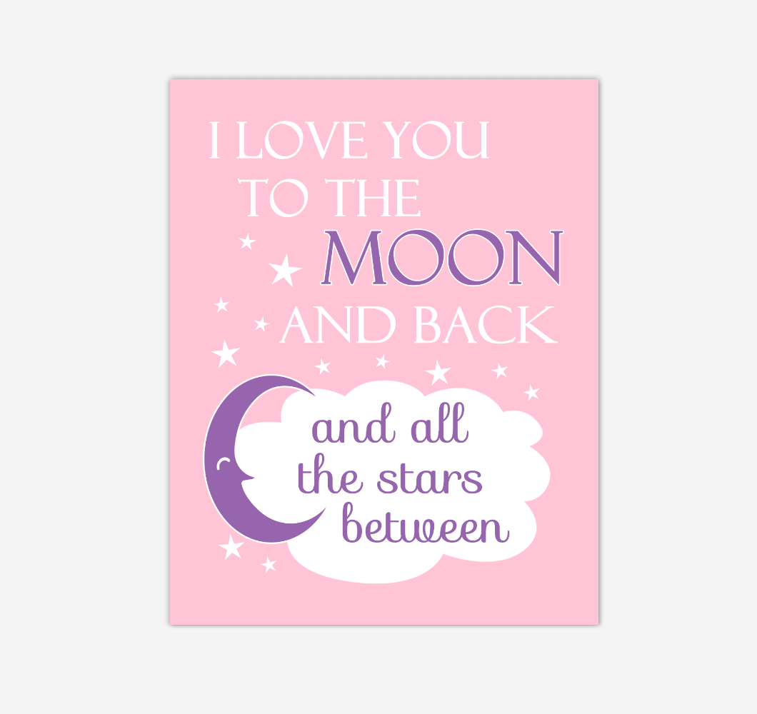 Pink Purple I Love You To The Moon And Back Baby Girl Nursery Wall Art Print Canvas Decor Inspirational Quotes 02255