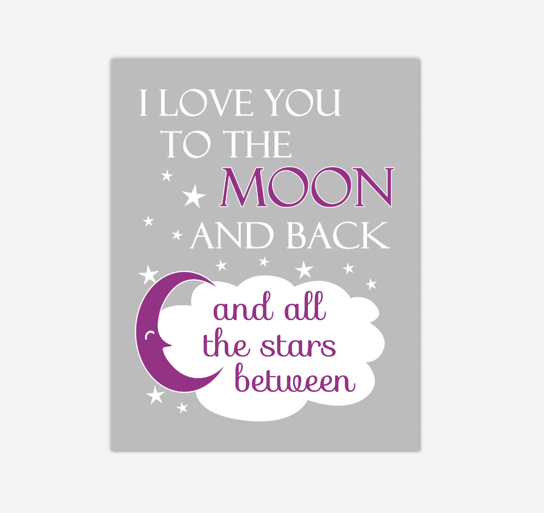Purple I Love You To The Moon And Back Baby Girl Nursery Wall Art Print Canvas Decor Inspirational Quotes