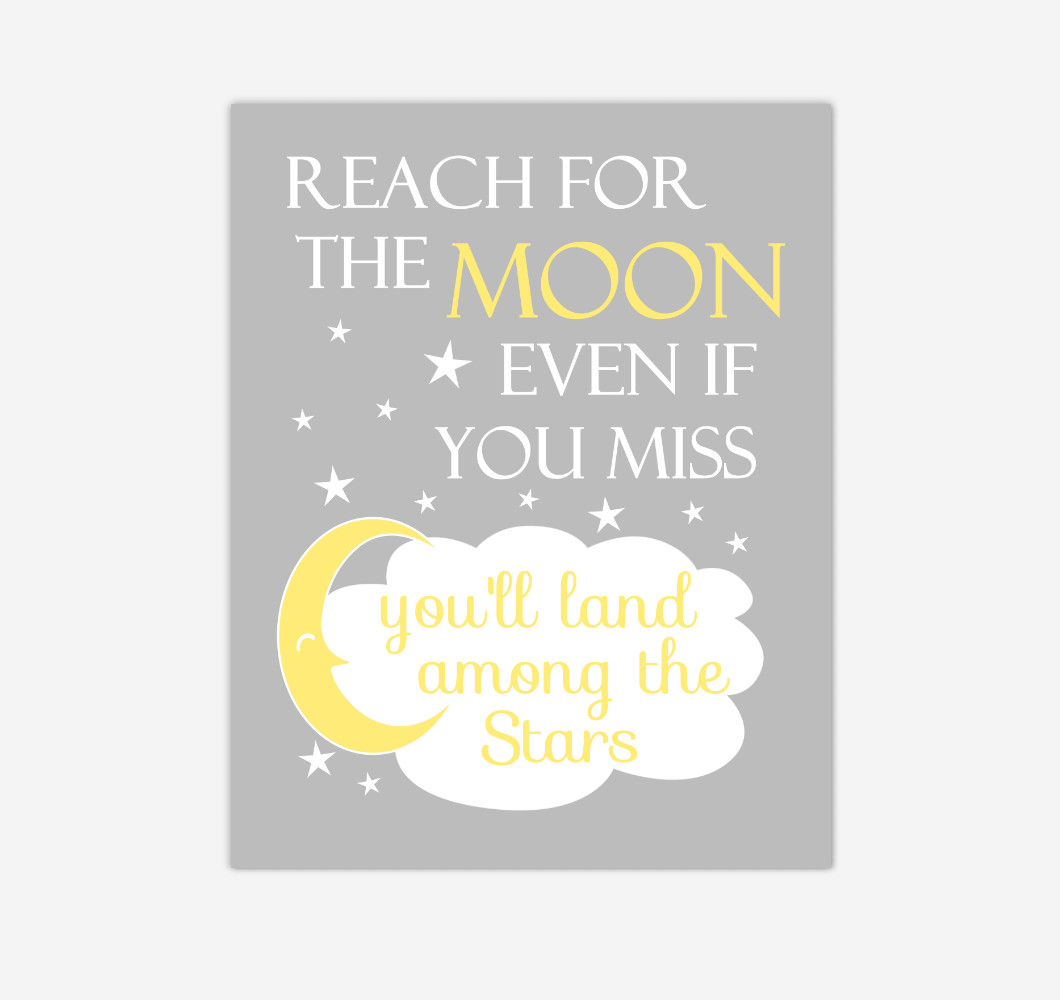 Yellow Gray Reach For The Moon Baby Girl Boy Nursery Wall Art Print Canvas Decor Inspirational Kids Bedroom Quotes