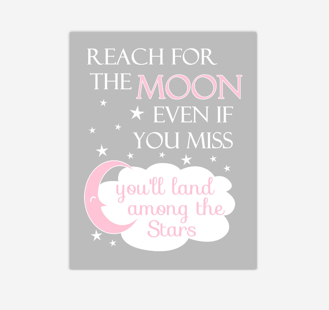 Pink Reach For The Moon Baby Girl Nursery Wall Art Print Canvas Decor Inspirational Kids Bedroom Quotes