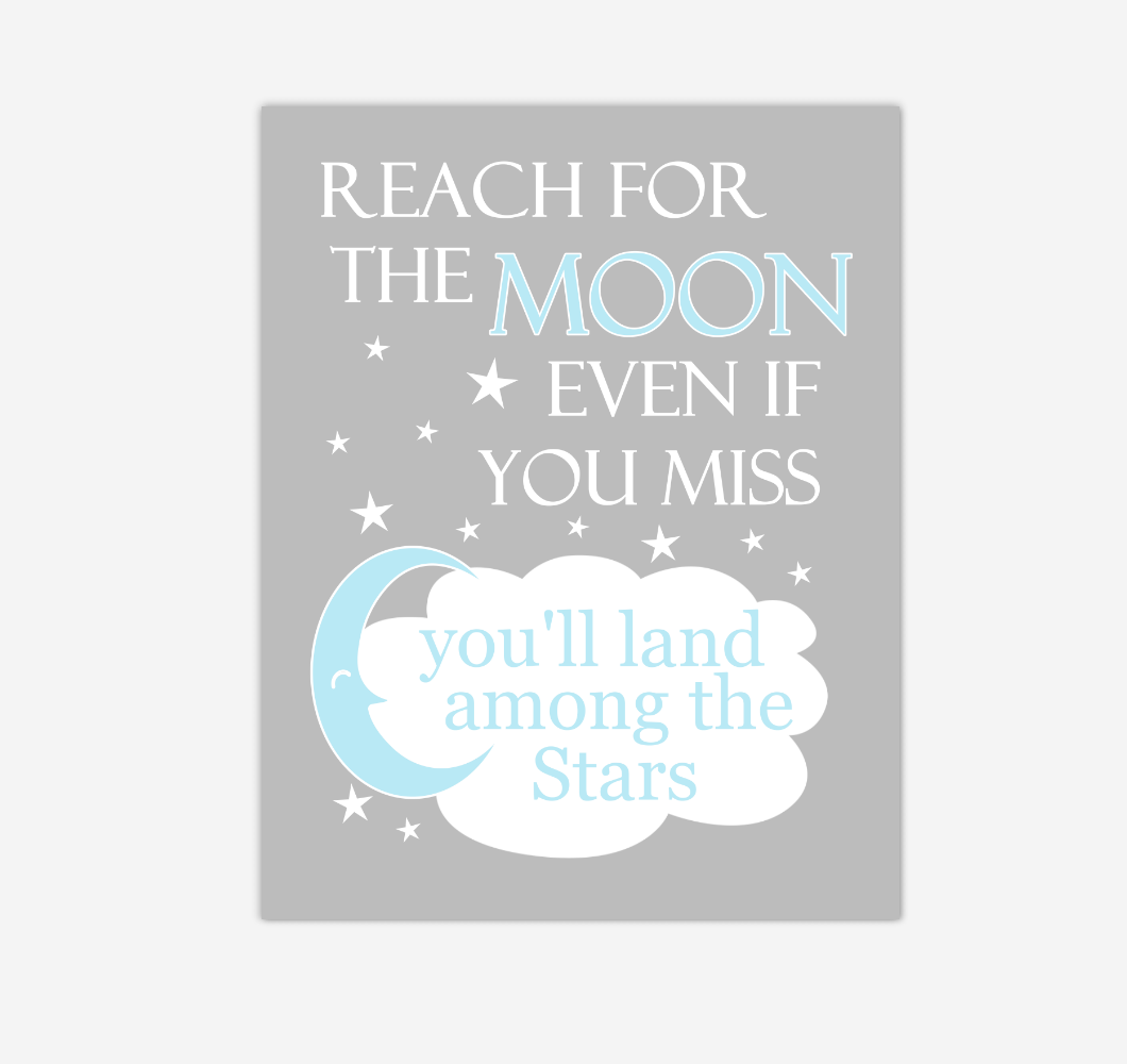 Blue Reach For The Moon Baby Boy Nursery Wall Art Print Canvas Decor Inspirational Kids Bedroom Quotes 02262