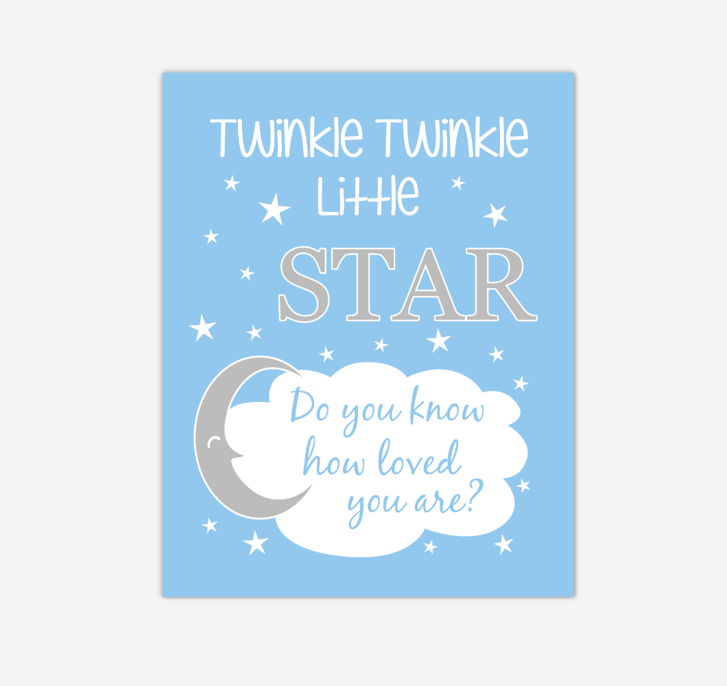Blue Twinkle Little Star Baby Boy Nursery Wall Art Print Canvas Decor Inspirational Kids Bedroom Quotes 02263