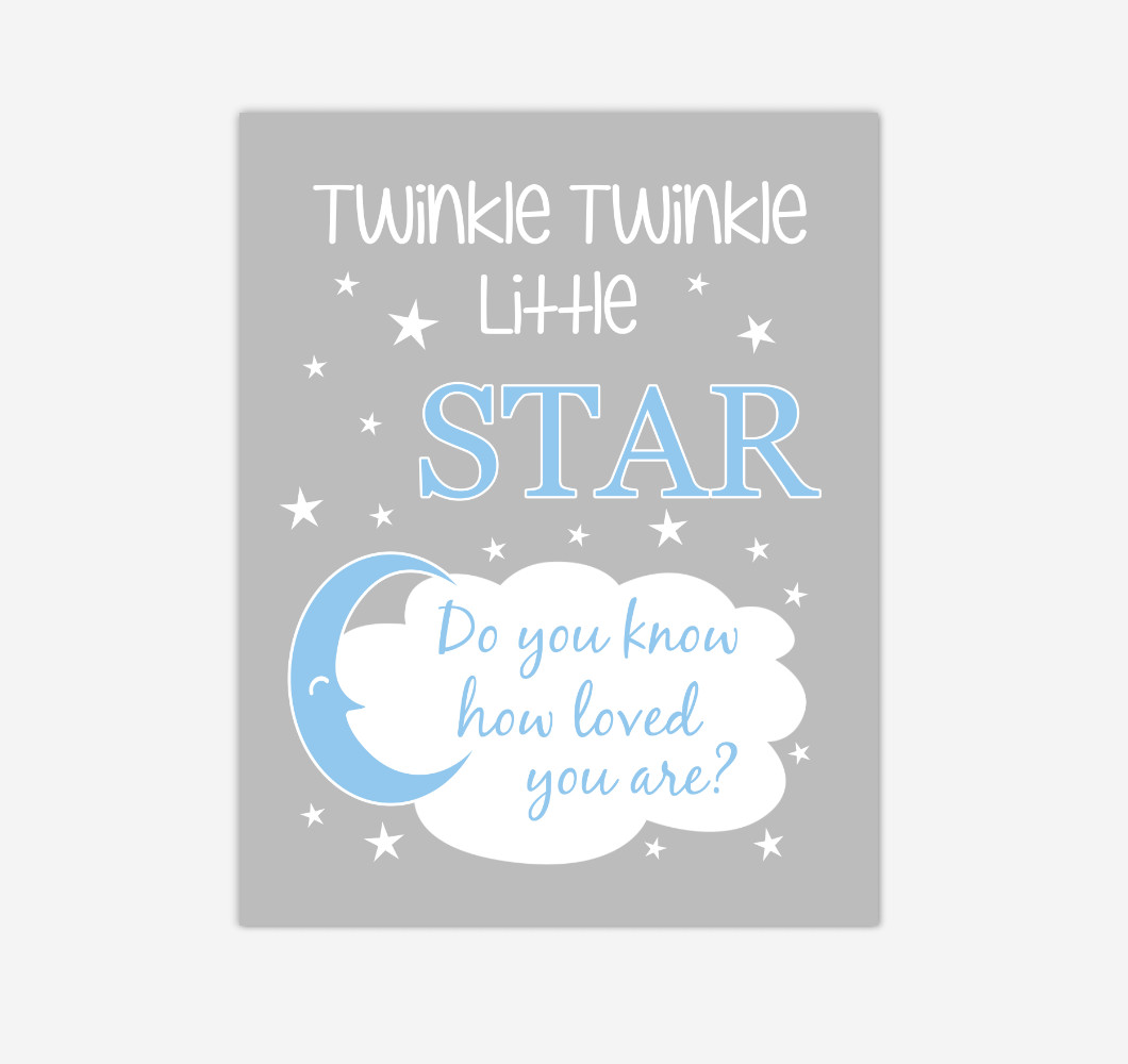Blue Twinkle Little Star Baby Boy Nursery Wall Art Print Canvas Decor Inspirational Kids Bedroom Quotes